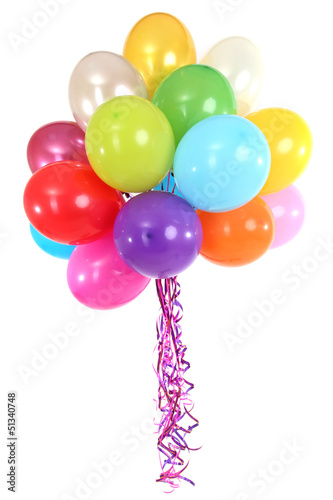 Many bright balloons isolated on white
