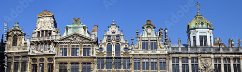 Panorama of the impressive Guildhalls in Grand Place, Brussels