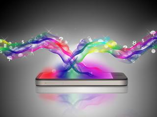 Smartphone im farbigen Konzept