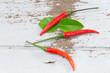 pepper and Kaffir lime leaf on wooden