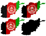 Afghanistan flag over map collage