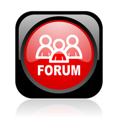 forum black and red square web glossy icon