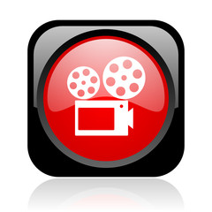 cinema black and red square web glossy icon