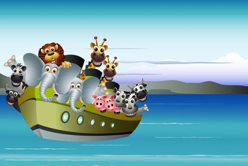 animal cartoon on boat