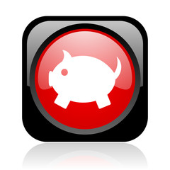 piggy bank black and red square web glossy icon