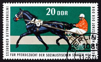 Postage stamp GDR 1974 Trotter, Race Horse