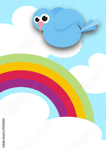 blue bird and rainbow