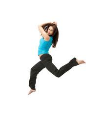 sporty woman jumping in sportswear