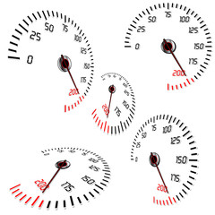 Abstract speedometers, normal and perspective views, vector