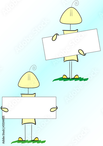 funny cartoon person in various poses with white banner