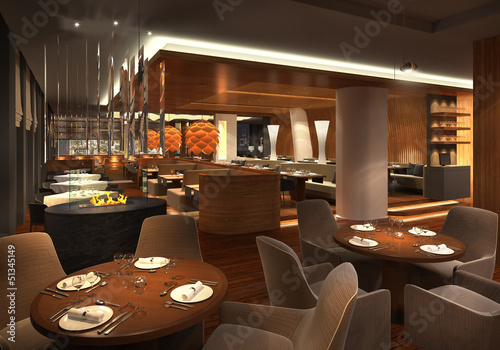 3d render of a restaurant interior - 51345149
