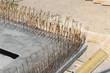 Fers à béton en crochet sur une semelle de fondations
