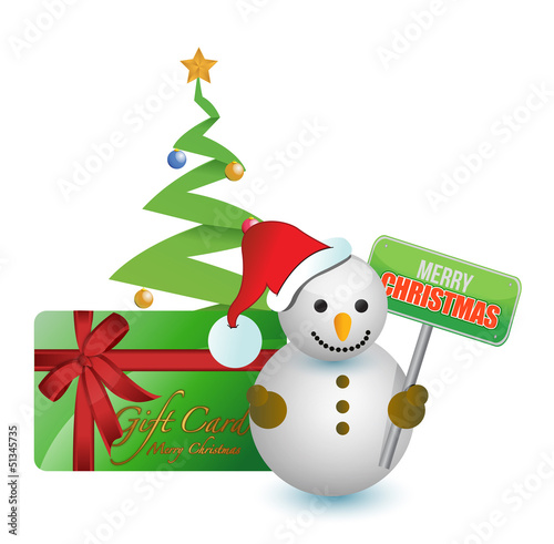 Snowman, tree and merry Christmas gift card