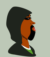 black man with goatee and hoodie