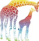 vector rainbow giraffe mother with cub