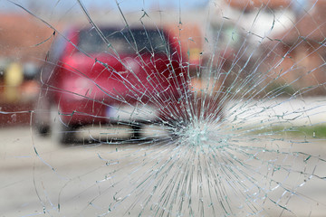 Broken windshield, car accident