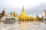 Shwedagon Pagoda in Yangon, Myanmar in the rainy season.