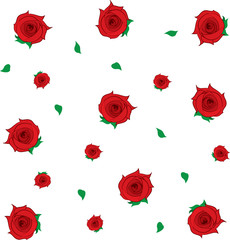 Isolated roses and leaves falling background