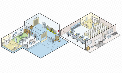 Store Shop and Loading Bay Vector Isometric