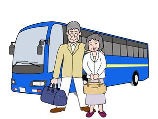 高齢者夫婦でバスの旅