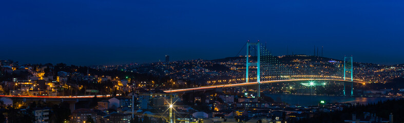 night at Bosporus Bridge istanbul Turkey