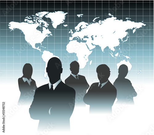 Businessman team silhouette in front of world map eps 10