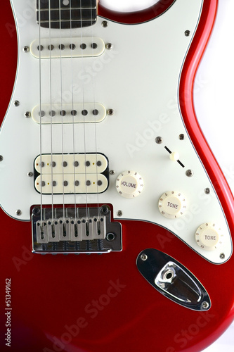 red body electric guitar