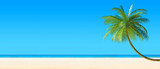 Fototapety 3d render of Tropical beach panorama with palm tree