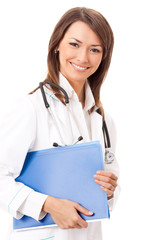 Cheerful doctor with blue folder, over white