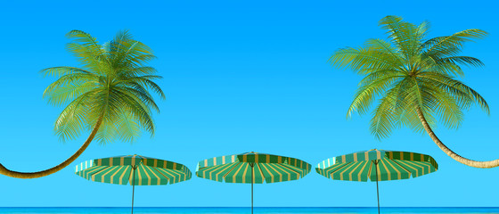 Tropical beach panorama with umbrellas and palm tree
