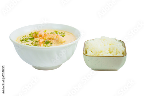 soup shrimp rice plate isolated on white background clipping pat