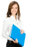 Smiling businesswoman with blue folder, isolated