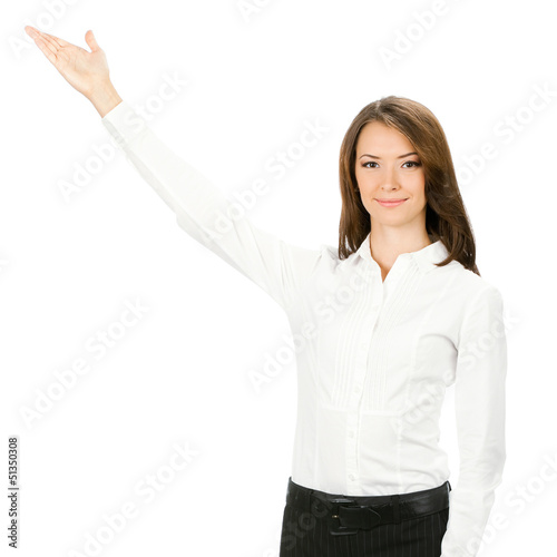 Businesswoman showing something, isolated