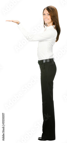 Full body of happy business woman showing