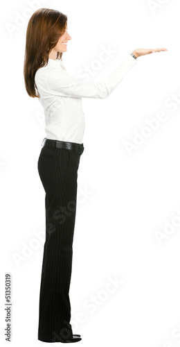 Full body of beautiful business woman showing