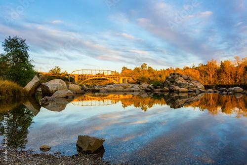 canvas print picture Rainbow Bridge in Folsom California at sunset