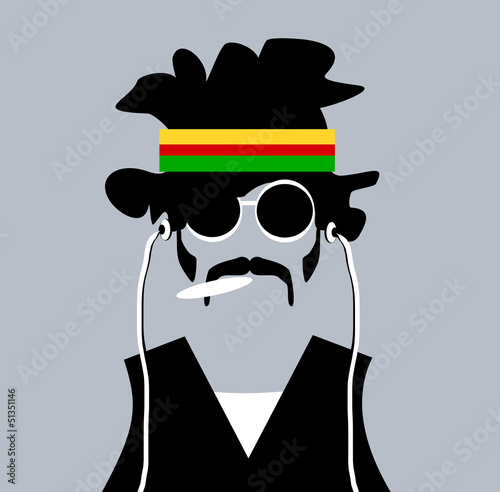 man with rastafarian headband and marijuana