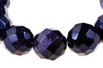 string of faceted black stone beads