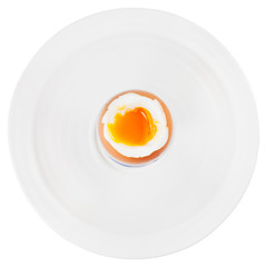 soft boiled egg in egg cup on white plate