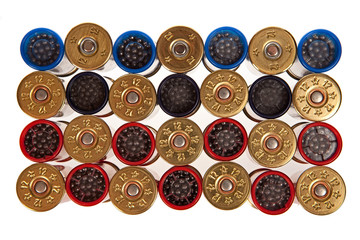 hunting cartridges on a white background