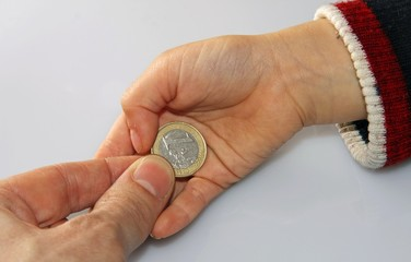 parent who delivers a euro tip to her young daughter