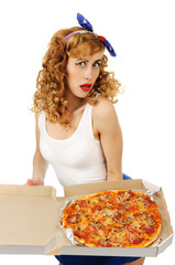 Pretty young woman with pizza