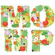 Alphabet of vegetables MNOP