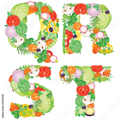 Alphabet of vegetables QRST