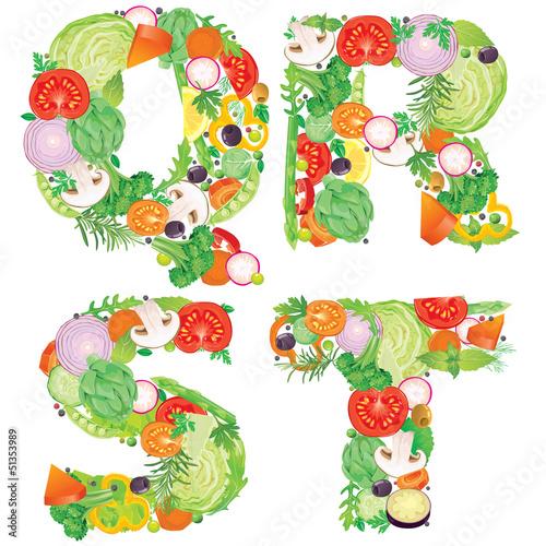 Alphabet of vegetables QRST