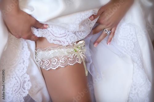 canvas print picture bride leg with garter