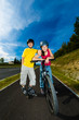 Active young people - rollerblading, cycling