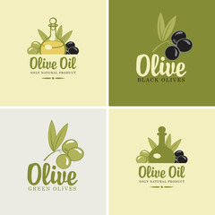 set of four banners on the theme of olives and oil