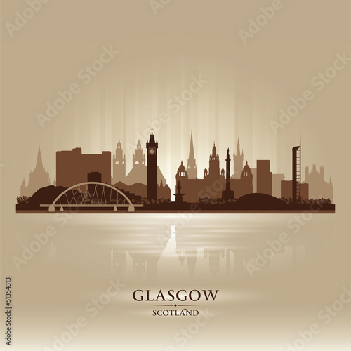 Glasgow Scotland skyline city silhouette