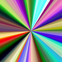 Multicolored diagonal bands converging in a pinpoint.
